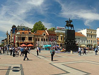 The central downtown square in Nis, Serbia.  We visit it on Day 8.