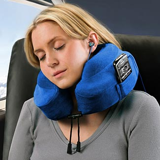 This clearly shows the extra profile of the Evolution pillow and its drawstring fasteners in the front.