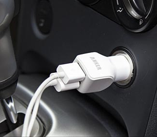 White Dual Port Car Charger Charge Two Devices at Once